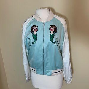 forever 21 bomber jacket Large Mermaid blue white